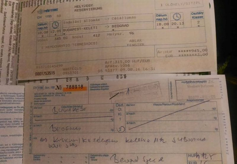 Biglietto del treno Budapest - Belgrado, compilato a mano