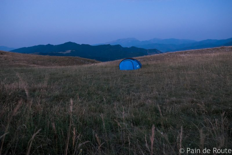 Un'area autorizzata al bivacco nei Monti Sibillini