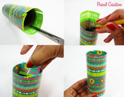 como fazer porta lapis tubo papel aluminio toalha rolinho papel higienico (3)