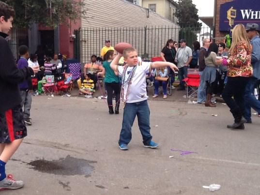 Playing Football at the Mardi Gras