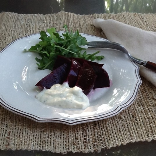 Roasted Beets with Creamy Cilantro Lime Dressing