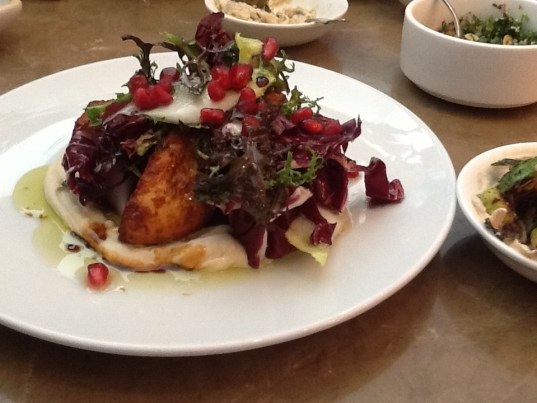Cripsy Haloumi with Caramelized Celery Root, Pomegranate and Winter Greens