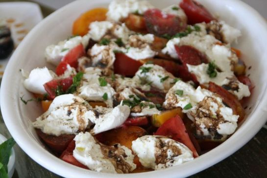 Tomatoes and Burrata- Photo Courtesy of Dorothy Reinhold of ShockinglyDelicious.com