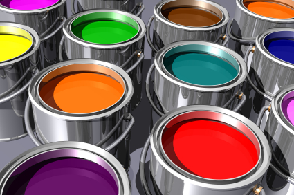 Paint cans of different colors