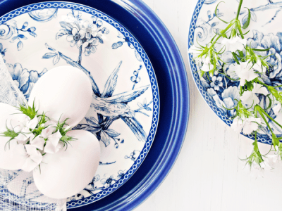 Fresh Eggs and Blue Plates
