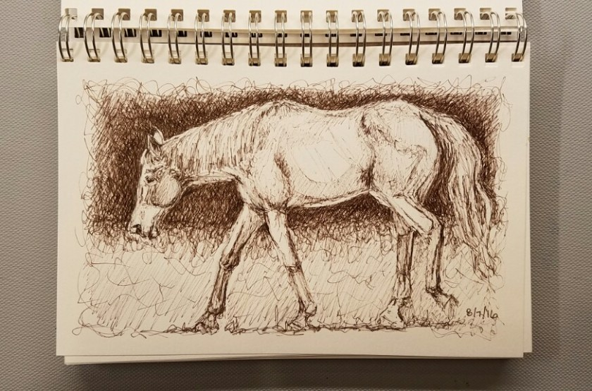 Horse in sepia ink