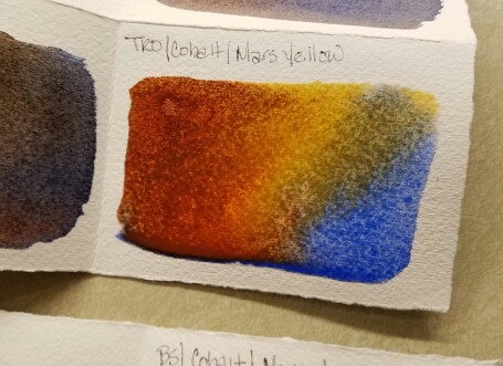 The first blending of red oxide, cobalt blue and mars yellow