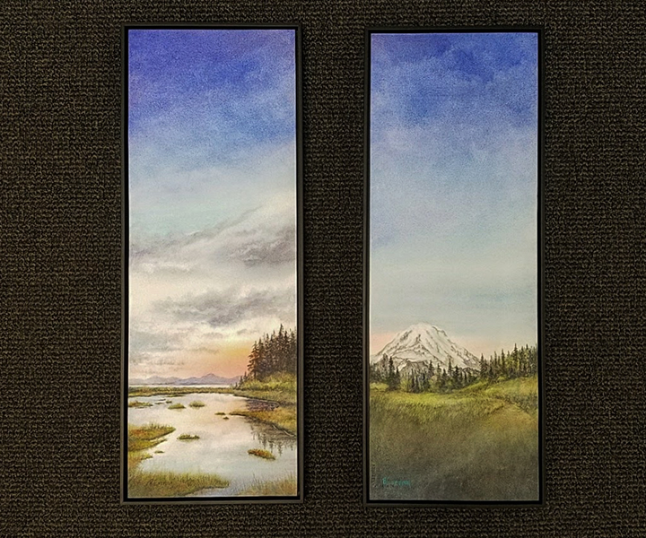 Watercolor in floating frames