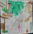 watercolor sketch of Hiyashiyama street, Kyoto