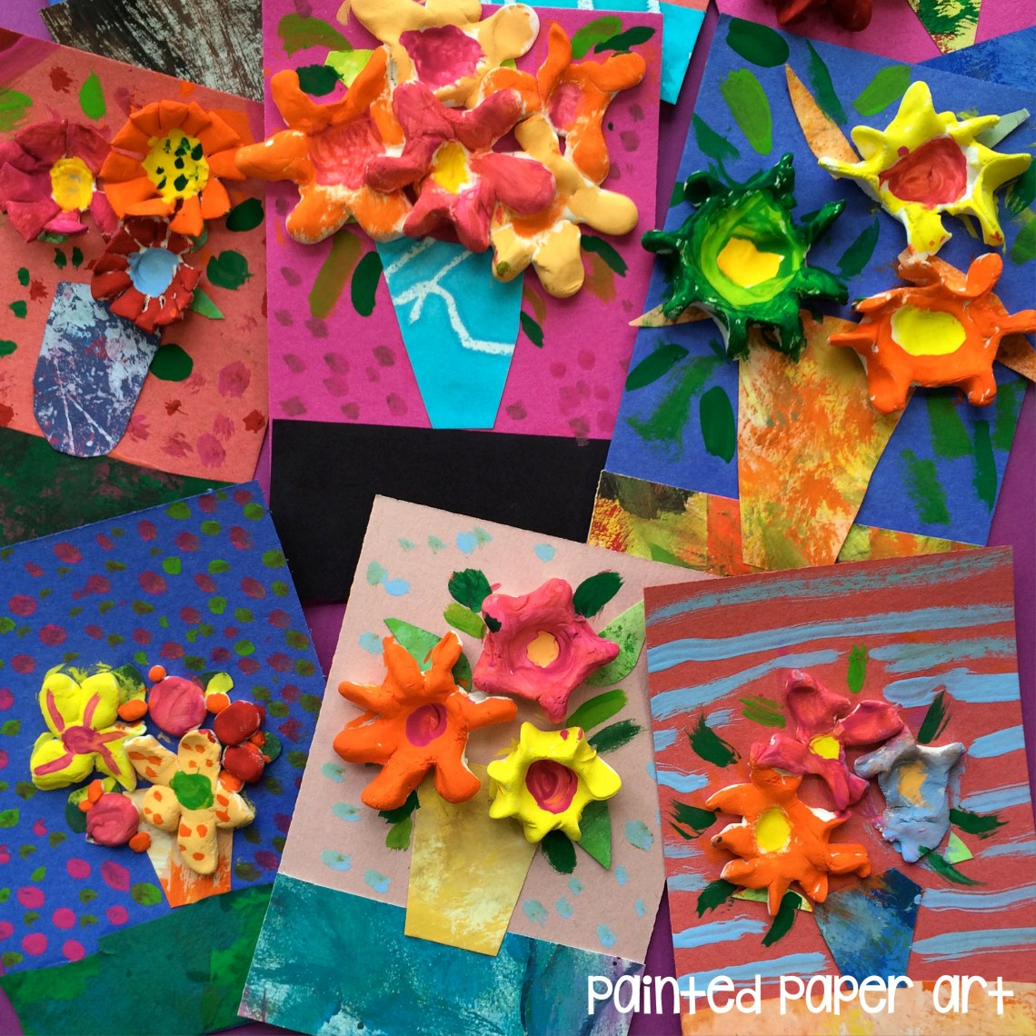 Mixed media flower bouquets painted paper art for Painted paper flowers