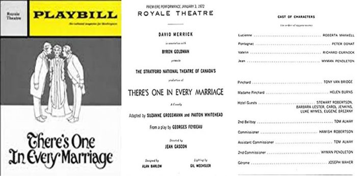 Playbill for There's One In Every Marriage, and Cast List