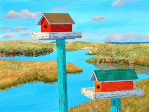 "Sancturary by Tom Alway, acrylic on canvas 30"" x 40"" framed at the Maritime Painted SaltboxGallery in Petite Riviere Nova Scotia"