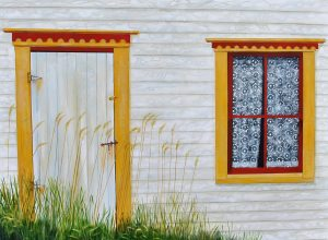 """Time Capsule by Peter Blais, acrylic on canvas, 30"""" x 40"""" at the Maritime Painted Saltbox Fine Art Gallery in Petite Riviere, Nova Scotia"""