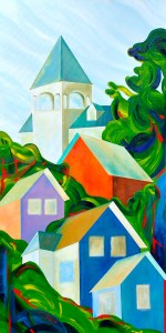 "Pond Street Revisited by Peter Blais, acrylic on canvas, 24"" x 48"" at the Maritime Painted Saltbox Fine Art Gallery in Petite Riviere Nova Scotia"