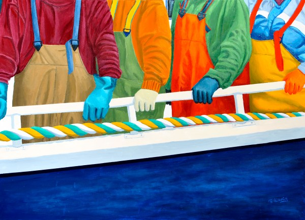 "Dress Circle at the Crustacean Carnival by Tom Alway, acrylic , 36""  x 48"" on gallery canvas at the Maritime Painted Saltbox Fine Art Gallery in Petite Riviere Nova Scotia."