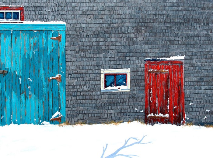 "Winter Mood by Artist Tom Alway, acrylic and mixed media on canvas  36""  x 48"", 28"" x 50"" framed at the Maritime Painted Saltbox Fine Art Gallery in Petite Riviere, Nova Scotia, Canada."