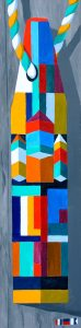 """A Proud and Admirably Abstracted Buoy by Artist, Tom Alway, acrylic on canvas 14"""" x 38"""" framed"""
