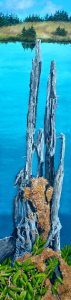 """Sticks and Stones, The Stump 14"""" x 50"""" framed by Tom Alway acrlylic on canvas"""