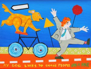 """My Dog Likes to Chase People on a Bike by Artist, Peter Blais, acrylic on canvas 18"""" x 22"""" framed"""