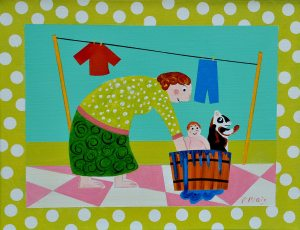 "Washday, by Artist, Peter Blais, acrylic on canvas, 16"" x 20"", framed"