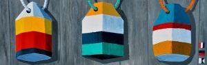 """Refurbished Buoys, by Artist Tom Alway, acrylic on canvas 14"""" x 38"""" framed"""