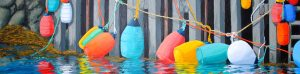 View of buoys at wharf when tide is out