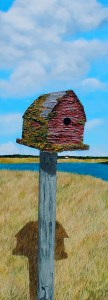 "This Old House by Tom Alway, acrylic and mixed media on gallery canvas 15"" x 48"" at the Maritime Painted Saltbox Fine Art Gallery in Petite Riviere Nova Scotia"