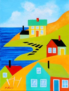 """Coming Home: Gertie's Place by Peter Blais, 14"""" x 18"""" acrylic on canvas, framed, at the Maritime Painted Saltbox in Petite Rivire Nova Scotia"""