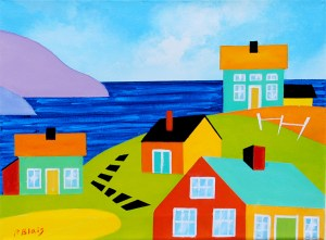 """Coming Home: Little Village by Peter Blais, acrylic on canvas 16"""" x 18"""" framed at the Maritime Painted Saltbox Fine Art Gallery in Petite Riviere Nova Scotia"""