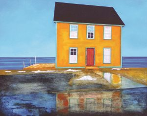 House Reflections by Peter Blais,  Metal Art 11 x 14 at the Maritime Painted Saltbox Fine Art Gallery in Petite Riviere Nova Scotia