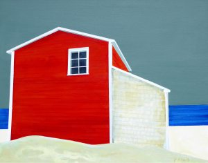 Red Store Late Afternoon by Peter Blais fMetal Print 11 x 14,at the Maritime Painted Saltbox Fine Art Gallery in Petite Rivire Nova Scotia