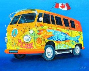 Party Bus by Peter Blais 16 x 20 Metal Print