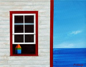"""Shore Leave byPeter Blais 11"""" x 14"""" Metal  at the Maritime Painted Saltbox Fine Art Gallery in Petite Riviere Nova Scotia"""