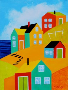 """Coming Home: Hilltop House by Artist Peter Blais,, 14"""" x 18"""" framed available at the aritime Painted Saltbox Fine Art Gallery in Petite Riviere Nova Scotia"""