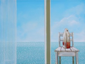 """Best Seat in the House, Artst, Peter Blais, acrylic on canvas 20"""" 26"""" framed at the Maritime Painted Saltbox Fine Art Gallery in Petite Riviere"""