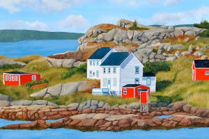 """A Newfoundland Redoubt  by Tom Alway  Metal lPrint 16"""" x 24"""" at the Maritime Painted Saltbox Fine Art Gallery in Petite Riviere Nova Scotia"""