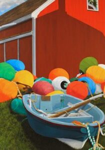 "Painting by Tom Alway, A Fisherman's Pumpkin Patch 36"" x 48"" acrylic on canvas"
