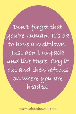 It is ok to have a meltdown, just don't unpack and live there. Inspirational, sad, hardship quote. www.paintedteacup.com