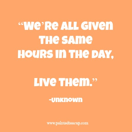 """""""We're all given the same hours in the day, live them."""" 12 Productivity Quotes. www.paintedteacup.com"""