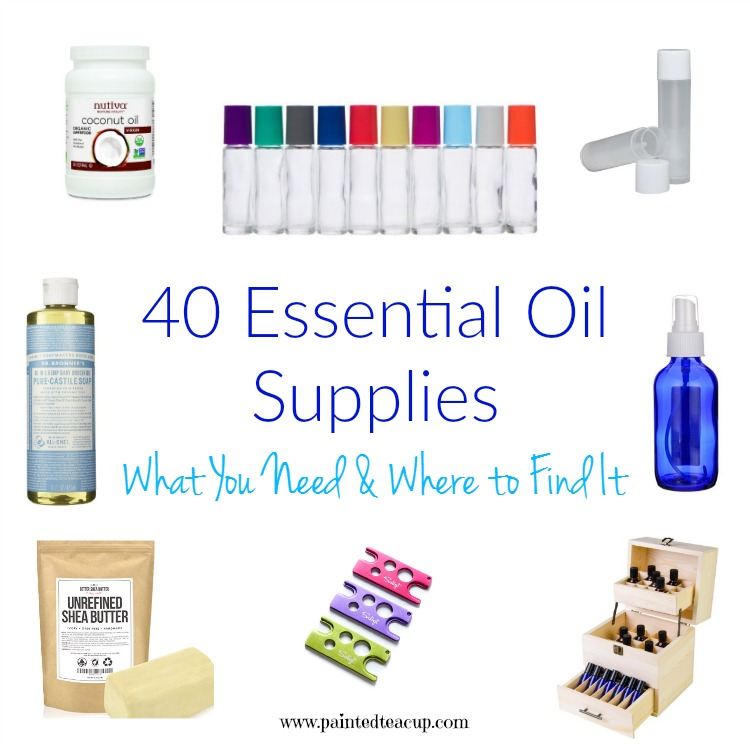 A full list of my favourite essential oil supplies & accessories! Essential oil containers, carrier oils, diy supplies, tools, books, storage & more!