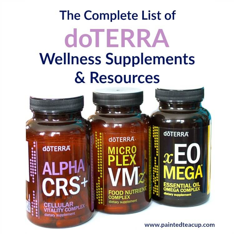 A list of 30 doTERRA wellness supplements including links to product information, presentations, videos, research, social media images & more!