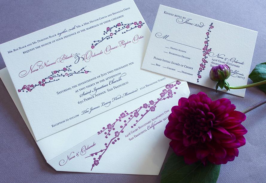 Cherry Blossom traditional wedding invitation