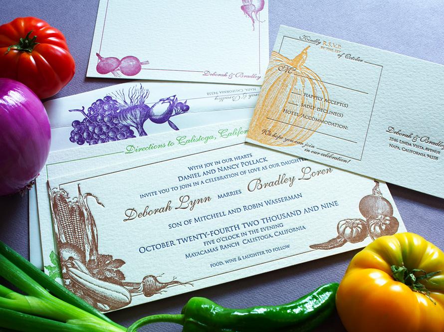 Colorful Vegetable Themed Wedding Invitation