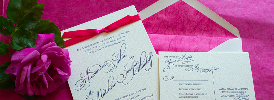 Elegant invitation with bright pink accents