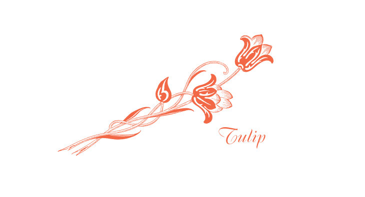 Tulip - a stylized or Arts & Crafts pair of tulips and stems