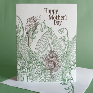 Lily of the Valley letterpress Mother's Day card with mice by Painted Tongue Press