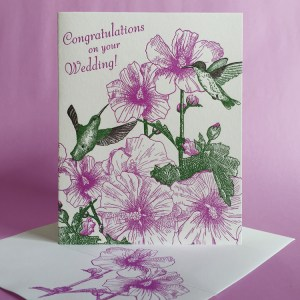 Rose of Sharon letterpress wedding card with hummingbirds by Painted Tongue Press