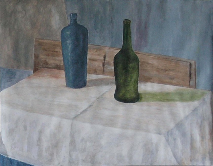 Graham McIntyre-still life with wine bottles