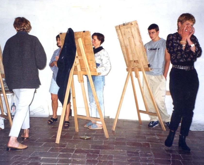 five students in studio