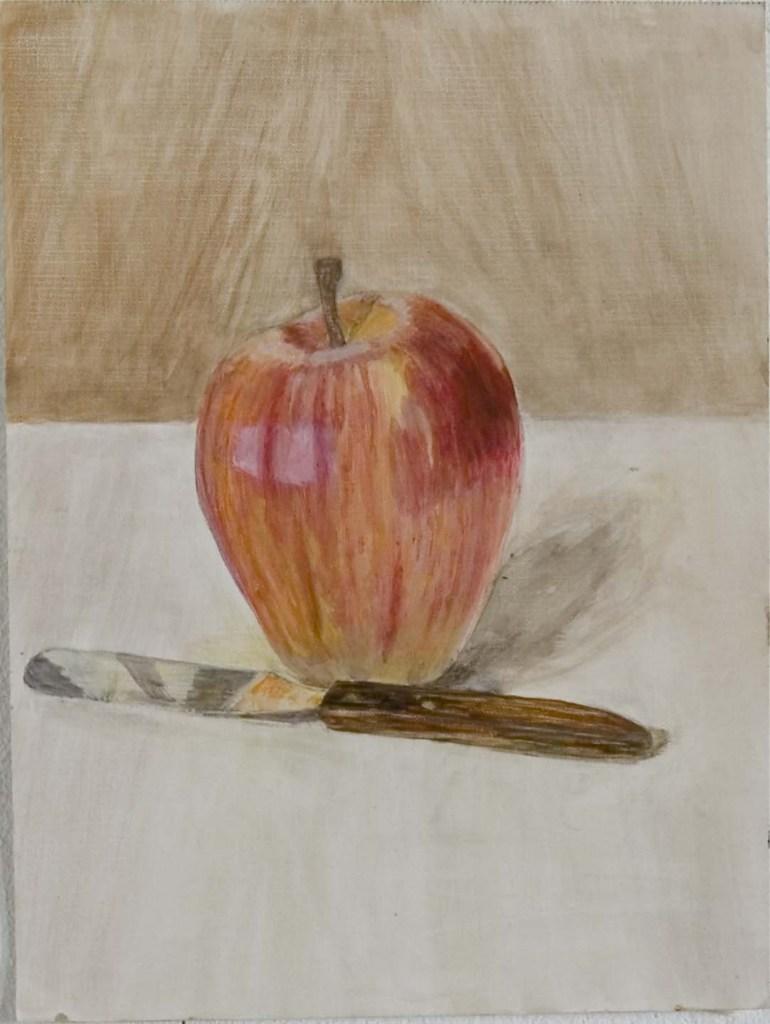Hilda-Weissfloch apple with knife